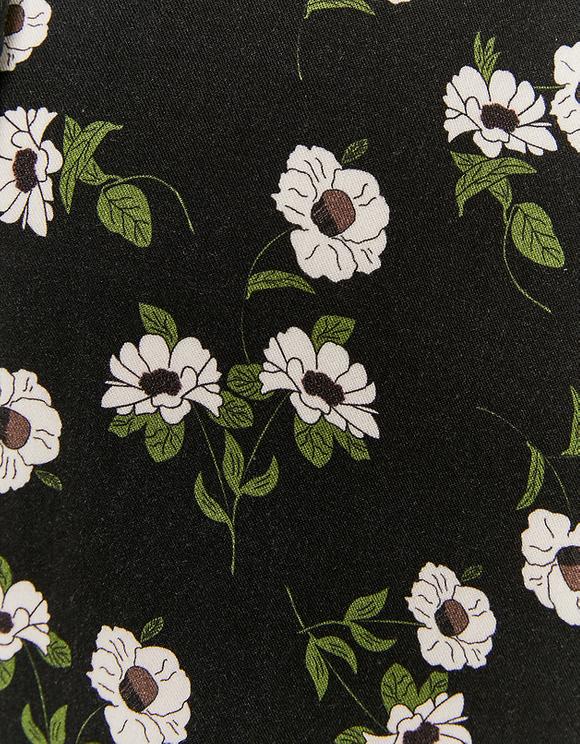 Black Flower Print Mini Dress