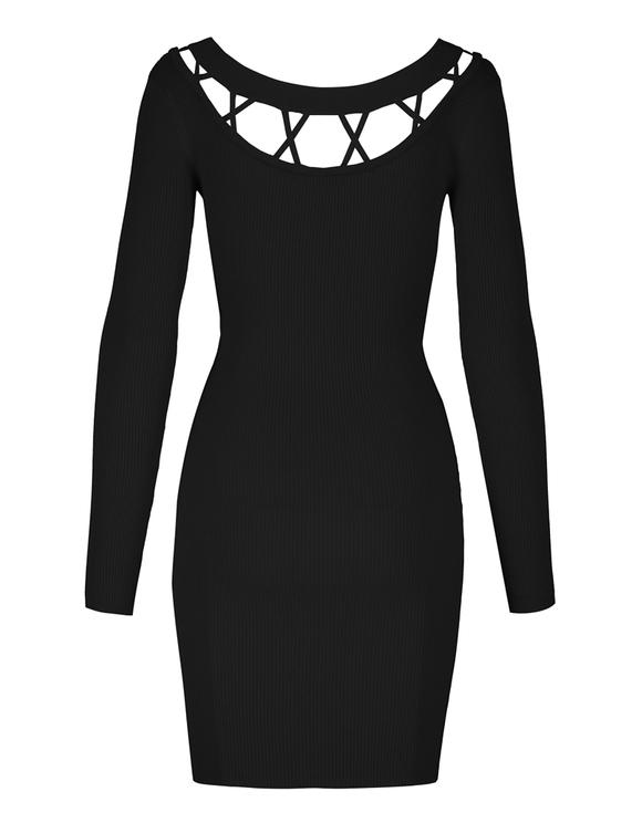 Robe Noire Moulante en Maille Fine