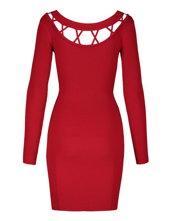 Robe Rouge Moulante en Maille Fine