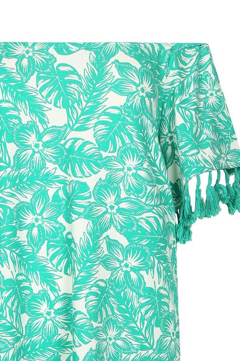 Green Tropical Print Dress