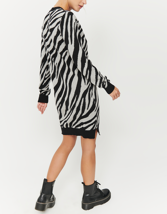Strickkleid mit Zebra-Muster