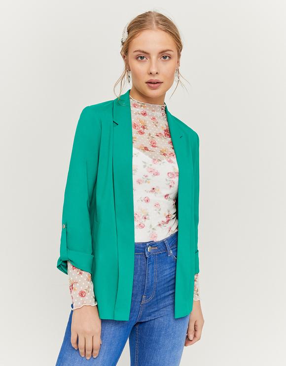 Green Open Front Blazer