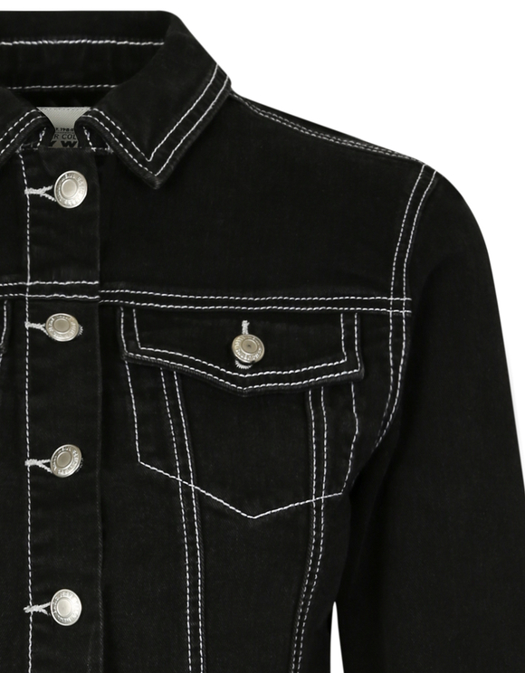 Black Jacket with White Stitching