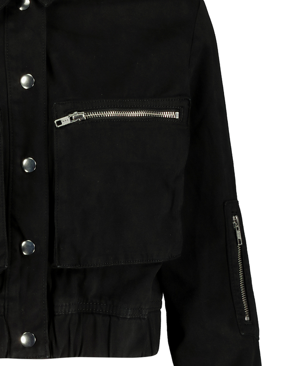 Black Elastic Waist Jacket
