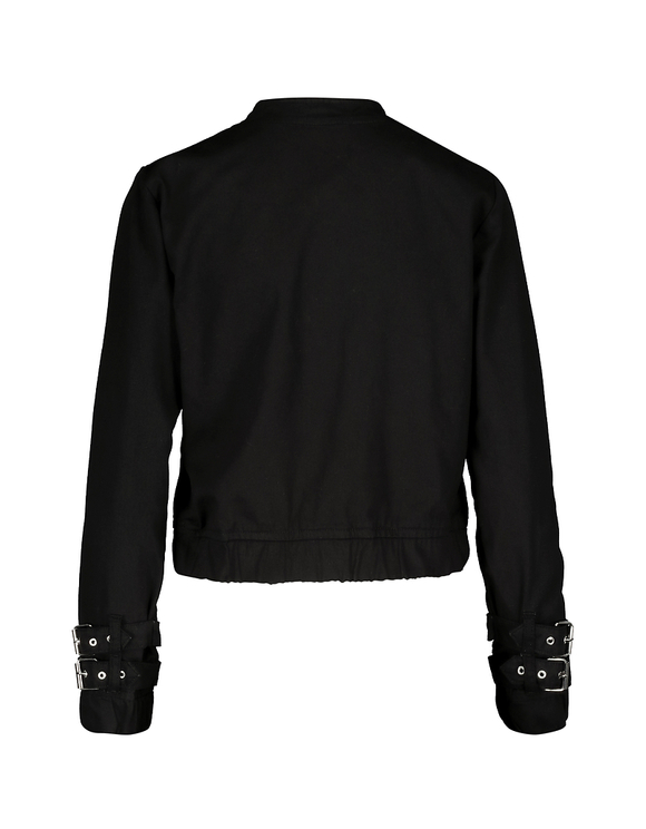 Black Bomber Jacket with Cuff Detail