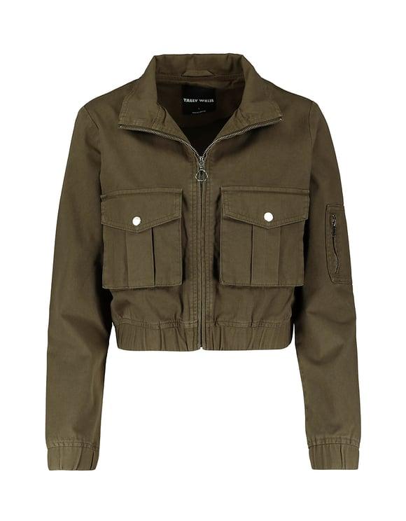 Khaki Utitlity Cropped Jacket