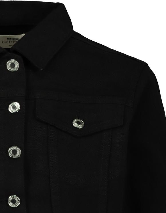 Cropped Black Denim Jacket