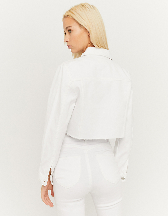 White Denim Cropped Jacket