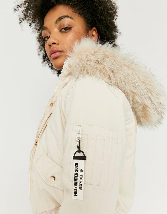 Crèmefarbene Jacke mit Kapuze aus Kunstfell