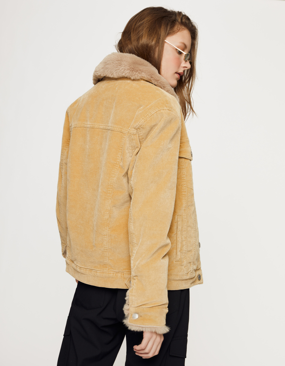 Beige Ribbed Jacket