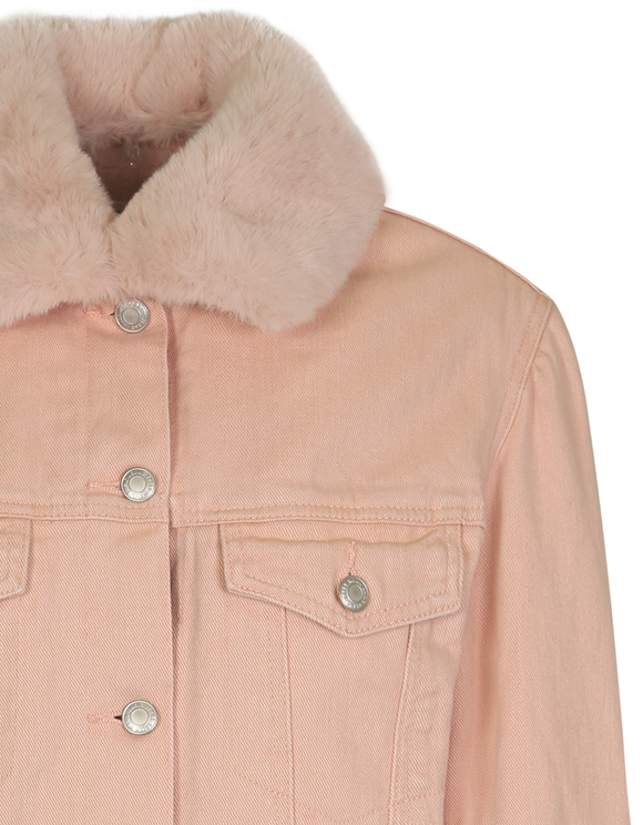 Pink Jacket with Faux Fur