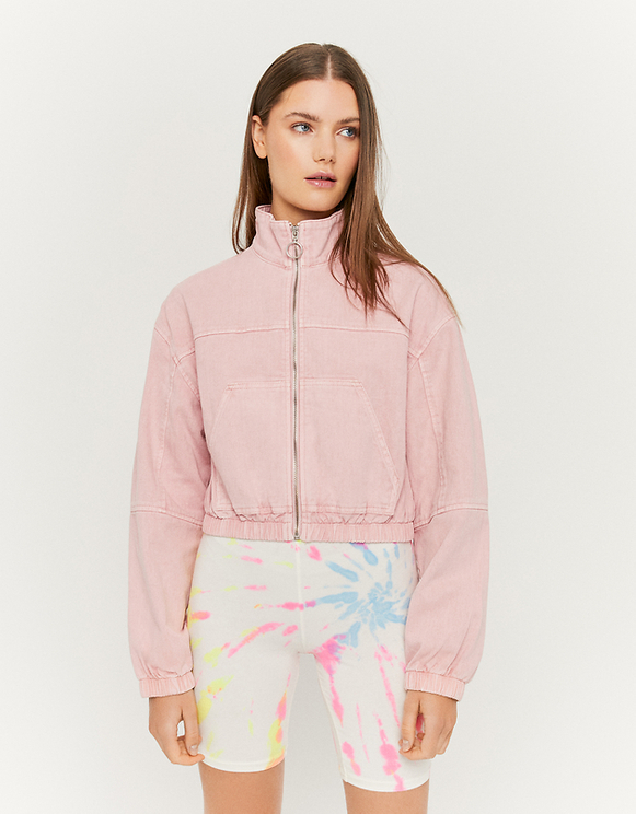 Pink Denim Bomber Jacket