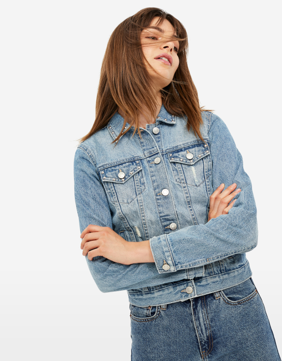 Slim Fit Denim Jacket with Studs