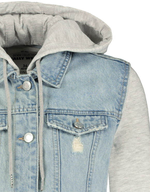 Destroyed Denim Jacke mit Kapuze