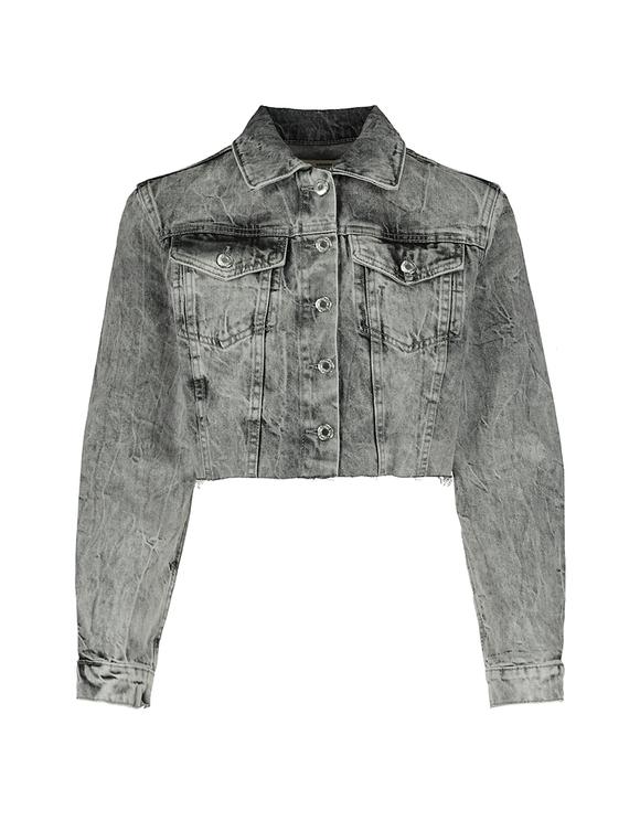 Cropped Denim Grey Jacket