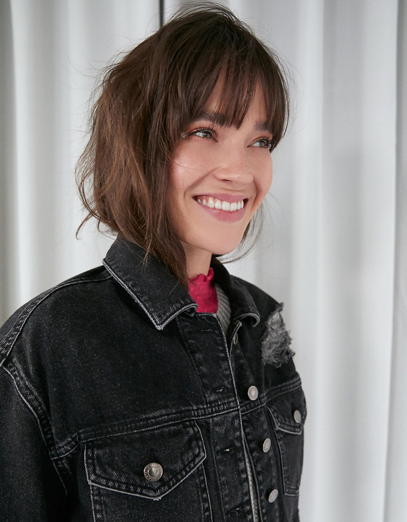 Black Cropped Denim Jacket with Fringes