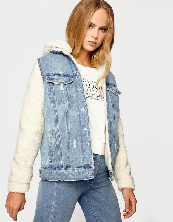 Jeansjacke mit Teddyfleece