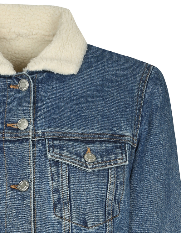 Denim Faux Fur Jacket