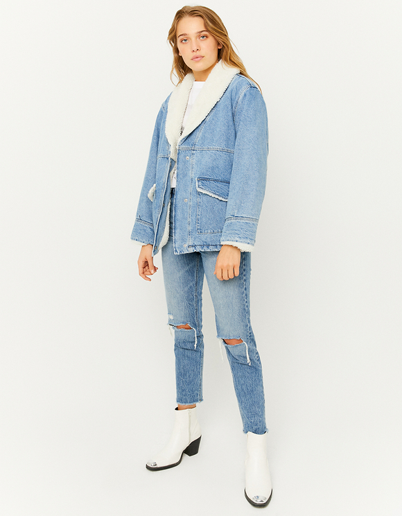 Denim Jacket with Faux Shearling lining