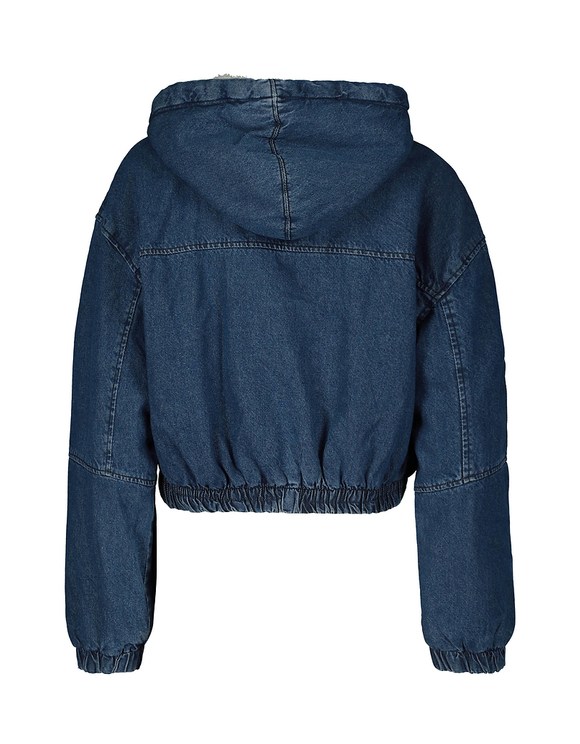Cropped Denim Jacket with Sherpa Hood
