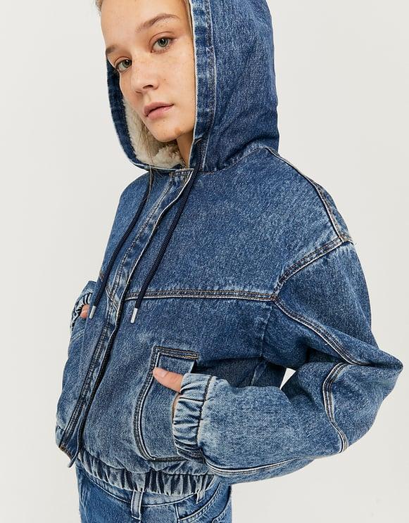 Cropped Denim Jacket with Sherpa Hood