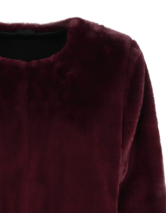 Bordeaux-rote flauschige Jacke