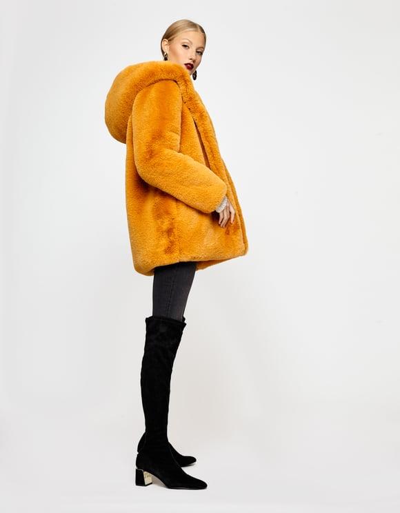 Gelbe flauschige Jacke mit Kapuze