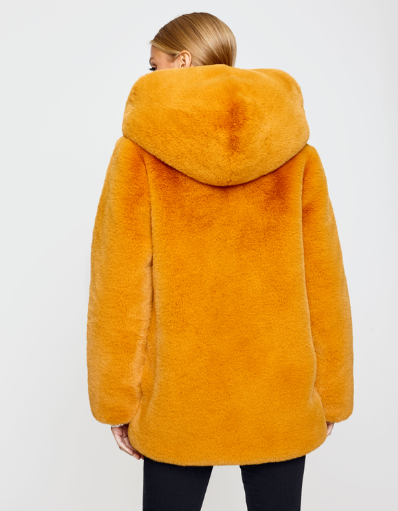 Yellow Fluffy Coat with Hood