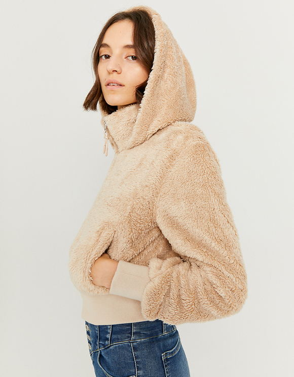 Beige Faux Fur Jacket with Hood