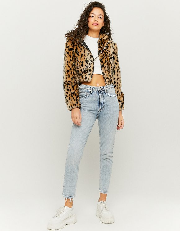 Leopard Print Faux Fur Jacket
