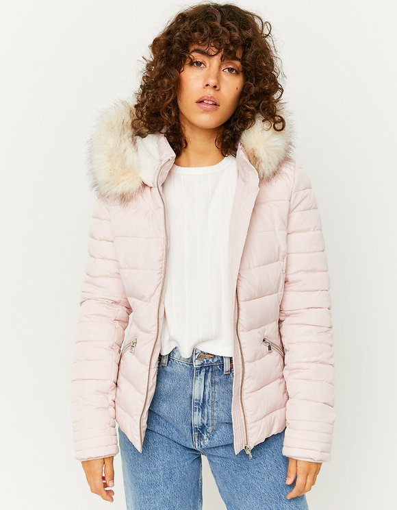 Pink Puffer Jacket with Hood