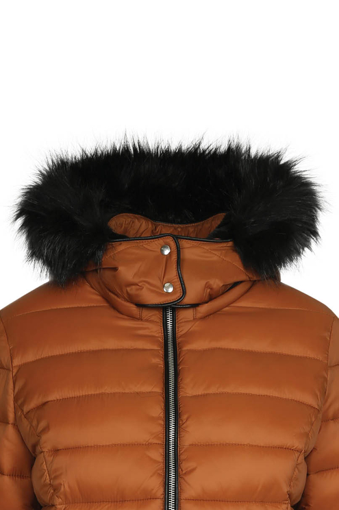 Cognac Puffer Jacket with Hood