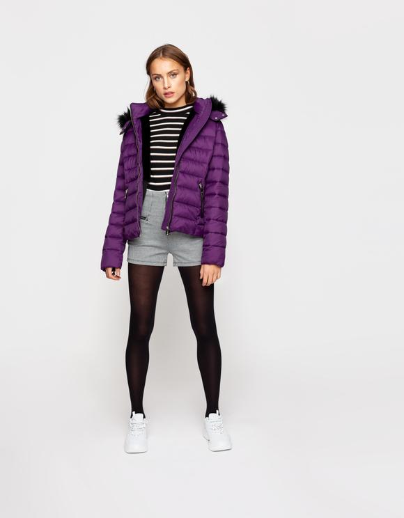 Purple Puffer Jacket with Hood