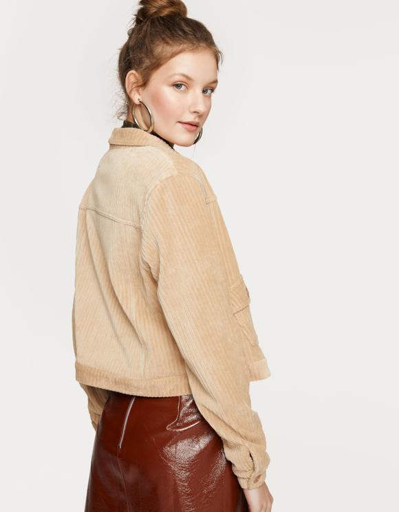 Biała sztruksowa kurtka