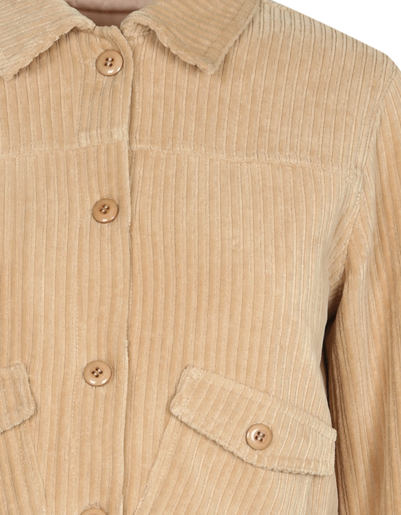 Beige Ribbed Velvet Jacket