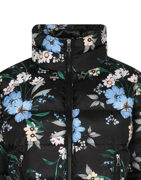 Schwarze Daunenjacke mit Blumen