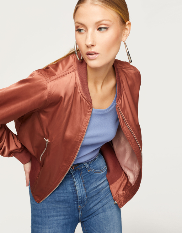 Metallic Pink Bomber Jacket