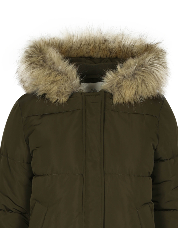Khaki Puffer Jacket with Hood