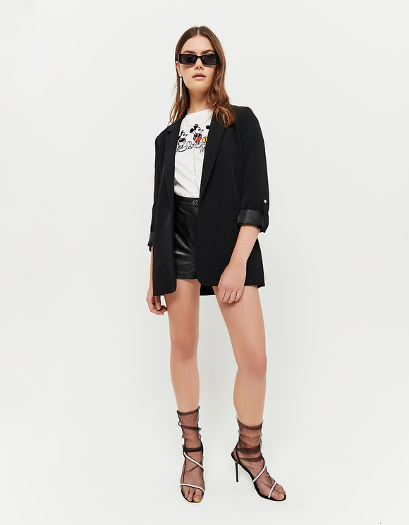 Black Open Front Blazer