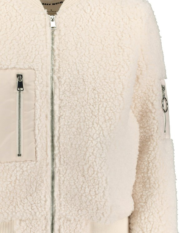 Giacca Bomber in Finto Peluche Bianco