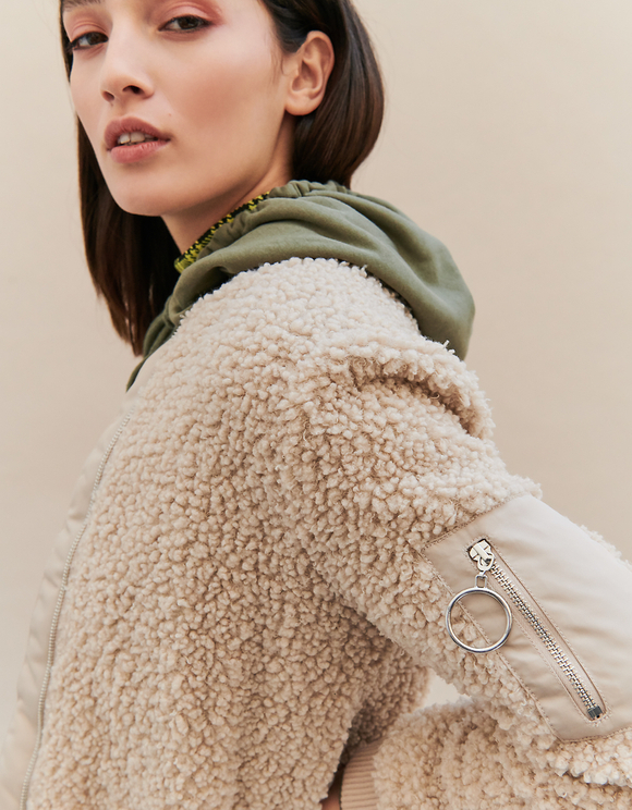 Beige Teddy Bomber Jacket