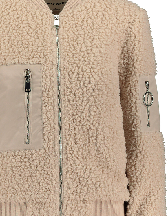Giacca Bomber in Finto Peluche Beige
