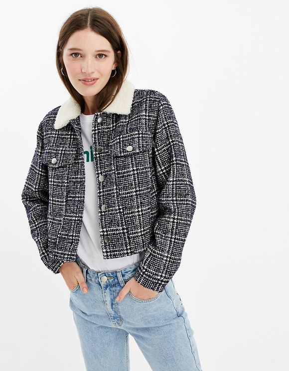 Straight Fit Faux Shearling Collar Jacket