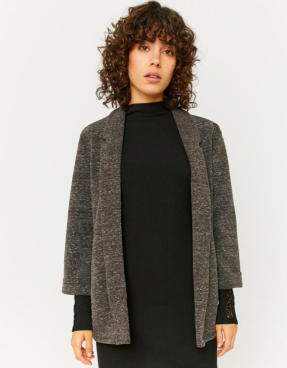 Grey Knit Open Front Blazer