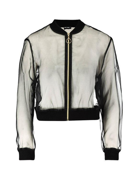 Black Transparent Bomber Jacket