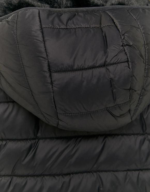 Schwarzes Daunenjacke mit künstlichen Pelz