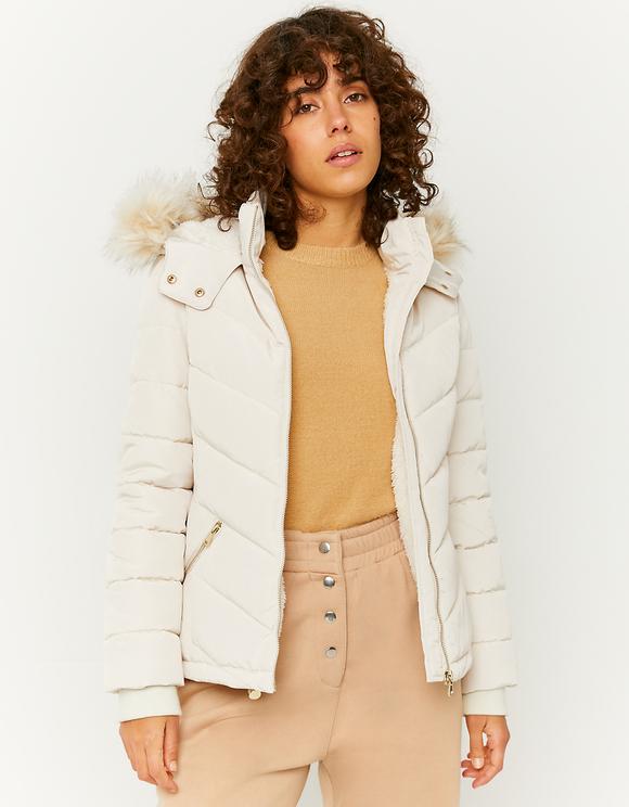 Beige Puffer Jacket with Faux Fur Trim