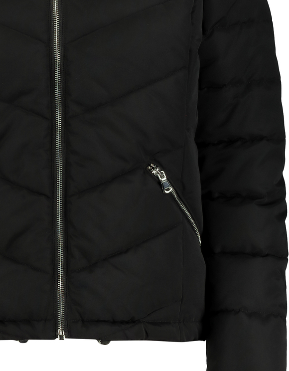 Black Puffer Jacket with Faux Fur Trim