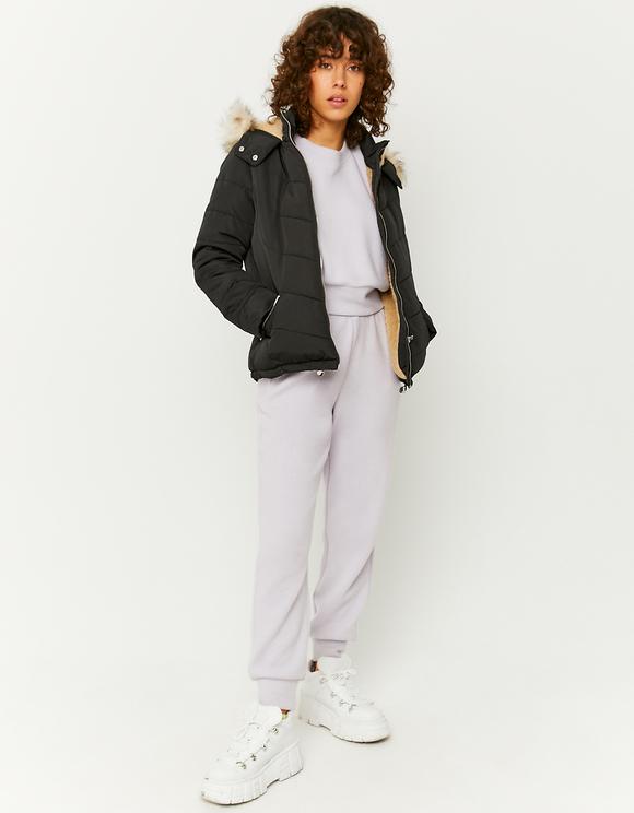 Black Puffer Jacket with Faux Fur Trim