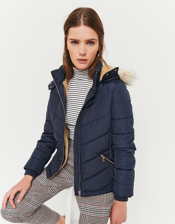 Navy Puffer Jacket with Faux Fur Trim